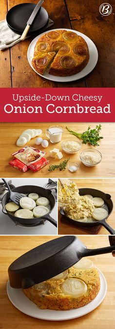 Want a beautiful and delicious bread to go along with holiday meals or even just weeknight soups? This cheesy, versatile sweet onion cornbread has got you covered! Holiday Meals, Holiday Recipes, Holiday Dinner, Cast Iron Recipes, Onion Recipes, Cast Iron Cooking, Side Dish Recipes, Frittata, Food And Drink