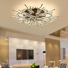This modern contemporary Ceiling Light is something totally different and unique! This ceiling light Modern Led Ceiling Lights, Modern Light Fixtures, Ceiling Light Fixtures, Modern Lighting, Luxury Lighting, Cheap Chandelier, Ceiling Chandelier, Chandeliers, Chandelier In Living Room