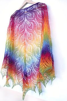 Rainbow knit shawl.  Again not my choice of color but the pattern is beautiful.