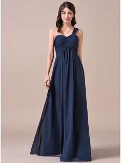 Empire One-Shoulder Floor-Length Chiffon Bridesmaid Dress With Ruffle