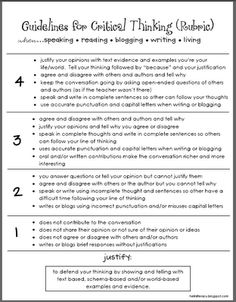 Guidelines for Critical Thinking (Rubric)  Use when reading informational texts