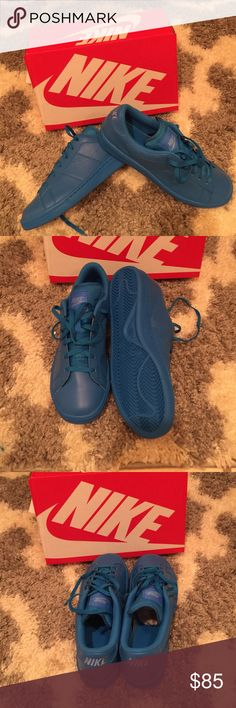 All Blue Nike's On trend solid Bright Blue Nike's. Bought for my daughter but didn't fit. Size is boys youth 6.5 which is also a women's 8. Brand new in box! Nike Shoes Athletic Shoes