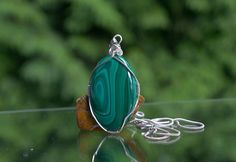 Silver wire wrapped Malachite pendant oval shape with by SAGaStone