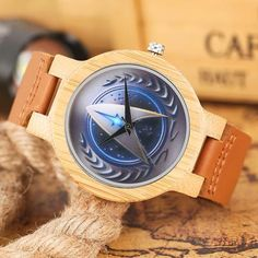 Natural Wood Bamboo Watch Men or Women Blue Star Trek Design Quartz-watch Genuine Leather Unique Gift + Bag