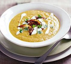 Spiced root soup with crisp spiced onions recipe - Recipes - BBC Good Food