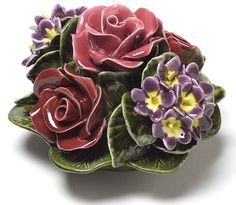 Ceramic Roses and Violets memorial flowers