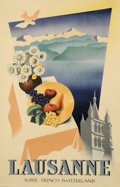 Vintage Travel Poster - Lausanne - Switzerland  -  by Jean Walther - 1947.