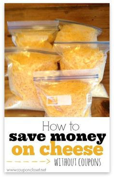 Frugal Tip: How to Save Money on Cheese Cheese! However, cheese can be so expensive. As a couponer, you will find yourself frustrated because cheese coupons are rare! Don't worry - I have an easy way to save on cheese without using coupons. Frugal Tips, Frugal Meals, Cheap Meals, Budget Meals, Budget Recipes, Food Budget, Money Budget, Budget Binder, Easy Meals