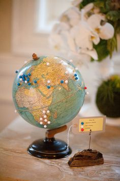 cute idea for a guest  book -- have people pin on a globe where they're from, traveled to, etc.