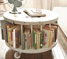 Giant Spools as book shelf