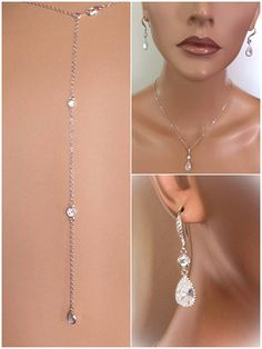 Silver crystal backdrop necklace and earrings set. Necklace is 18 inches long plus back drop. This will come giftboxed. Please let me know if you need more then are listed.