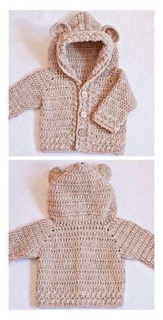 Crochet Pattern Free, Crochet Baby Sweater Pattern, Crochet Baby Sweaters, Baby Sweater Patterns, Crochet Hoodie, Crochet Baby Clothes, Crochet Bear, Baby Patterns, Baby Knitting