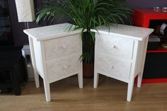 Painted and decoupage bedside tables by A Lick of Magic Annie Sloan CP Original