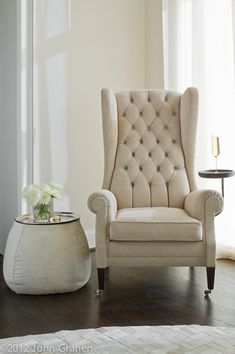 architectural photographer, interior photographer, white, white chair, champagne, dallas, TX