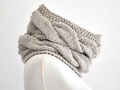 Knit Scarf Chunky Cowl Neckwarmer Beige Sand Neutral Gift for Her for Him Unisex Oversized Knits