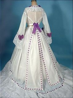 c. 1860's Trained White Fine Linen 2-piece Gown Trimmed in Purple Ribbon