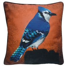 Cushion cover for throw pillow with bird - Blue Jay - 16x16 inch 40x40cm DELUXE edition - Organic cotton. 48,00, via Etsy.