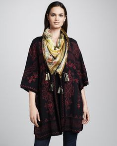 Claudine Embroidered Poncho & Silk Dragon Scarf, Women\'s by Johnny Was Collection at Neiman Marcus.