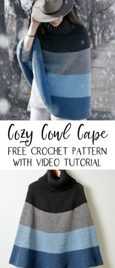 It's time for autumn, and this stylish cowl cape, easily crocheted in Caron Simply Soft yarn. Crochet Cape Pattern, Poncho Knitting Patterns, Crochet Shawl, Knit Crochet, Crochet Patterns, Crochet Vests, Shawl Patterns, Free Knitting, Autumn Crochet
