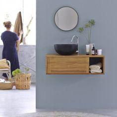 Badunterschrank Teak 95 Basic Waschbecken, Waschtisch Holz, Bäder Ideen,  Badezimmer, Mahagoni,