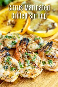 This Citrus Marinated Grilled Shrimp is an easy grilled shrimp kabob recipe marinated in fresh citrus and herbs, and grilled on an outdoor grill for a smokey flavor. Grilled Shrimp Marinade, Easy Grilled Shrimp Recipes, Cajun Shrimp Recipes, Grilled Shrimp Skewers, Steak And Shrimp, Seafood Recipes, Grilling Shrimp, Grilling Recipes, Fresh Herbs