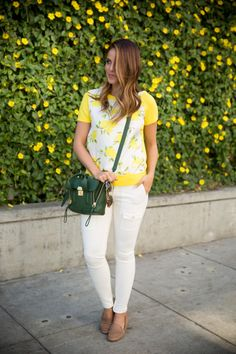 e4ecee32179e3 Blogger Gal Meets Glam pairs Gap loafers with a cheerful lemon print. Lemon  Print