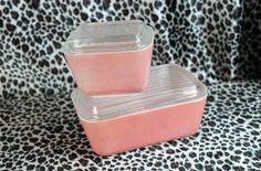 FREE SHIPPING Pink Pyrex Refrigerator Dishes by littletreasuresv