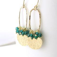 Emerald Earrings Swarovski Crystal Jewelry Hoop door JenniferCasady