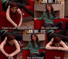Oh Cat we love and miss your hilarious cuteness so much! Victorious Tv Show, Victorious Cat, Victorious Nickelodeon, Cat Valentine Victorious, Disney Jokes, Funny Disney Memes, Funny Video Memes, Really Funny Memes, Funny Relatable Memes