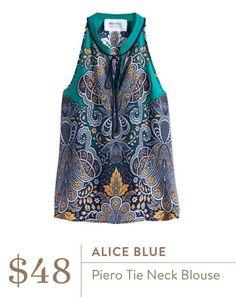 2017 Stitch fix Spring & Summer Fashion. Alice Blue piero tie neck blouse. Teal, navy mustard print top #stitchfix #sponsored