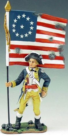 Revolutionary War American AR035 1st New York Regiment Flag Bearer - Made by King and Country Military Miniatures and Models. Factory made, hand assembled, painted and boxed in a padded decorative box. Excellent gift for the enthusiast.