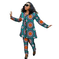 Fashion African Women Printed Tops+Pants Set Ladies Pant T-shirt Two Pieces Sets African Women Clothing Plus Size Party Costume African Women, African Fashion, African Style, Pants For Women, Clothes For Women, African Attire, Traditional Outfits, Plus Size, Fashion Outfits