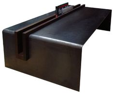 steel coffee table & walnut magazine trough