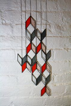 Stained Glass Elements Diamond Drops set of 6 by BespokeGlassTile