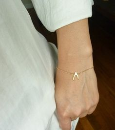 Sideways Wishbone Bracelet, great for a bridesmaid gift for good luck