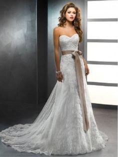 Brillant Spitze Taft Trägerloser Ausschnitt Kapelle-Schleppe A-Linie Hochzeitskleid DV50090