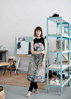 Sarah-Hendy's studio. Love the painted concrete floor and metal shelves on castors.