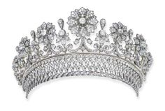 Tiara of the Counts Pálffy de Erdőd, Hungary (ca. 1870; made by A.E. Köchert; diamonds, silver, gold).