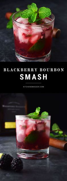 Blackberry Bourbon Smash (Whiskey Smash Recipe) The blackberry bourbon smash is made with Woodford Reserve Bourbon, fresh muddled mint and blackberries, lime, and simple syrup. Bourbon Drinks, Bar Drinks, Cocktail Drinks, Beverages, Simple Cocktail Recipes, Alcoholic Drinks With Mint, Simple Syrup Recipe Drinks, Whiskey Mixed Drinks, Bourbon Glasses