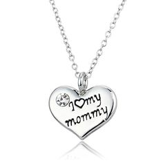 Linsh Love Heart Crystal Diamond I Love My Mommy Necklace Fashion Jewelry Gifts for Womens