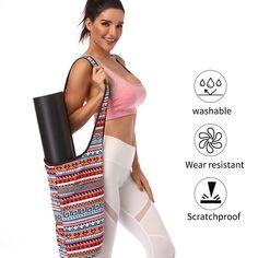 Large Storage Yoga Mat Gym Bag Wide Sling Carrier w Strap Fitness Zipper Pocket Backpack Storage, Gym Mats, Yoga Towel, Yoga Mat Bag, Mat Exercises, Pilates Workout, Printed Bags, Fun Workouts, Sling Carrier