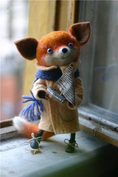 Needle felted foxy The more I look at her the more I love her!!! I wonder how I could put him in the spot for your picture on my pinterest board? I will check on it.