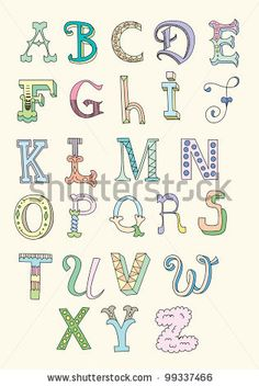 Doodle hand drawn alphabet in pastel tints