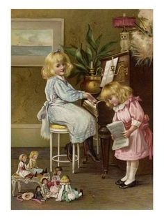 Canvas Art from 2 Little Girls Give Piano Singing Concert to Dolls Victorian Pictures, Vintage Pictures, Vintage Images, Vintage Girls, Vintage Children, Vintage Prints, Vintage Art, Victorian Art, Children Images