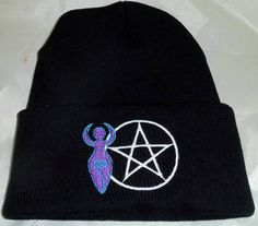 Divine Mother Embroidery On Beanie Hat with Pentacle Wiccan .Pagan  Wiccan Pagan Clothing Yule Gift