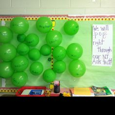 My bulletin board during testing. Students LOVED popping their balloon after testing was complete!