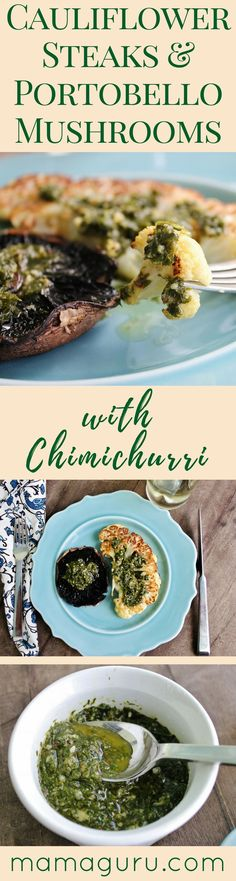 Vegan Recipe ♥ Vegetarian ♥ Cauliflower Steaks ♥ Chimichurri ♥ Portobello Mushrooms