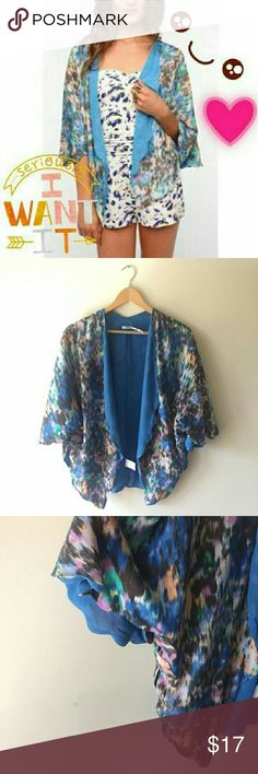 Urban Outfitters Blue Floral Kimono Cardigan EUC I WORN ONCE I A light weight flowly light blue kimono by Kimchi Blue from Urban Oufitters. Super cute scalloped cut all around with a floral print, take these on your summer strolls or kick back on thr porch on those light breezy nights. Chiffon like material, light weight but thick enough for quality. Beautifully made. Will fit XS-M I BUNDLES WELCOME I USE OFFER BUTTON I MAKE ME AN OFFER Kimchi Blue Sweaters Cardigans