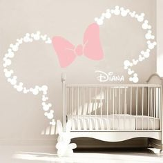 Mickey Mouse Inspired Ears with Bow & Personalized .-Mickey Mouse inspiriert Ohren mit Schleife & personalisierte BABY NAME / Minnie Maus inspiriert Wandtattoo von GraphicsMesh (Medium) Mickey Mouse inspired ears with bow & personalized BABY - Baby Mickey Mouse, Minnie Mouse Wall Decals, Minnie Mouse Nursery, Disney Mickey, Minnie Mouse Room Decor, Disney Decals, Disney Nursery, Disney Art, Personalized Wall Decals