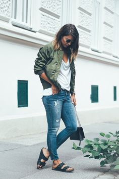 In this outfit, Nina demonstrates exactly how a bomber jacket can give you that…